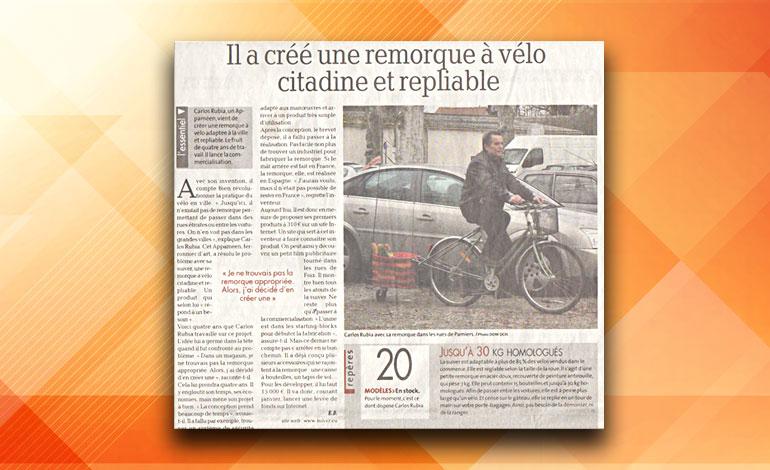ESPACE PRESSE - La Dépêche du Midi - 02/01/2017 Il a créé une remorque à vélo citadine et repliable - WWW.SUIVER.EU